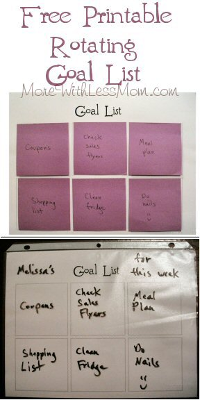 Free Printable Rotating Goal List from The More With Less Mom