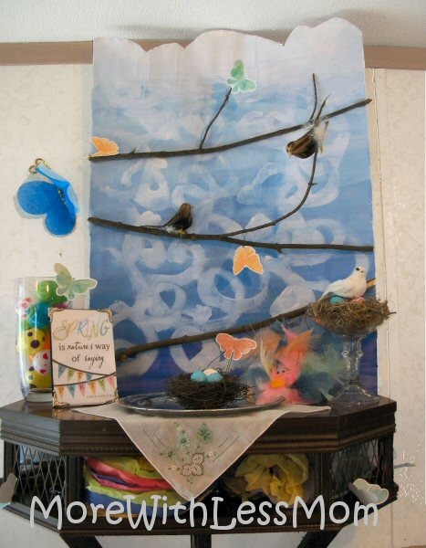 Kid Art Friendly Thrifty Spring Mantel