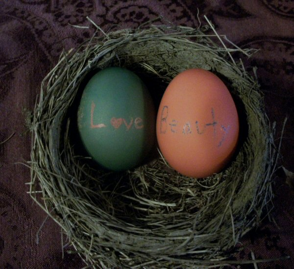 Write words on eggs with crayon - Love and Beauty