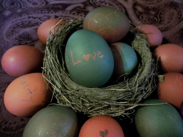 Lots of pretty eggs - a flower. Use brown eggs to get rustic colors.