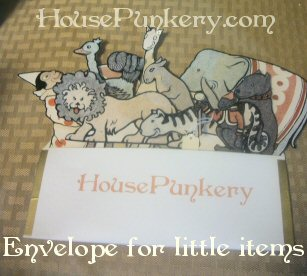 Envelopes for little items, hang on homemade display, or fold out for tiny folder