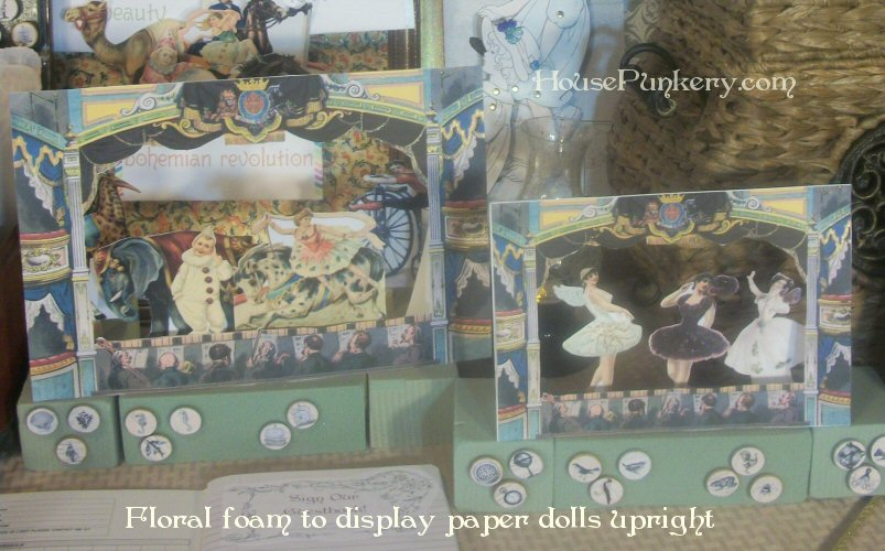 Floral foam to display paper dolls upright