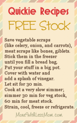 Quickie Recipe - Free Stock: You can make stock for free I tell you, freee!! If you are a thrifty cook, you save vegetable scraps (mostly celery, onion, and carrot; ends, stems and peels) you can stick them in the freezer. When you fill a bread bag or have 5 c of scraps, make stock. If you are lucky you have bones from something (even a once-cooked something like rotisserie chicken), and maybe giblets and a neck from a turkey. If you are not you can skip that and make veggie stock. Put your stuff in a pot big enough to have two handles. Cover with water and add a splash of vinegar. Let sit for 30 min. Then cook at a very slow simmer, skimming foam, simmer about 30 min for veg stock, 60 min for meat stock. (Some people simmer the bones for up to 24 hours, then add the veggies 60 min from when you're done.) Strain, cool, freeze or refrigerate. Square containers are really nice and can be found at the dollar store, or put a gallon zip bag in a margarine tub to fill, freeze on a cookie sheet, then store vertically.