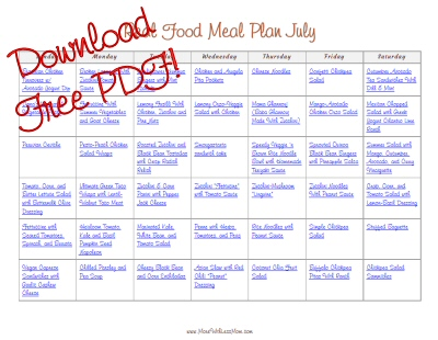 Download Free Printable PDF July Real Food Monthly Meal Plan from The More With Less Mom