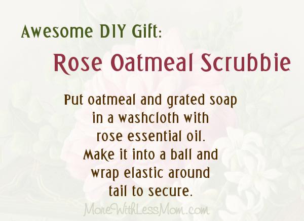 DIY Gift Rose Oatmeal Scrubbie