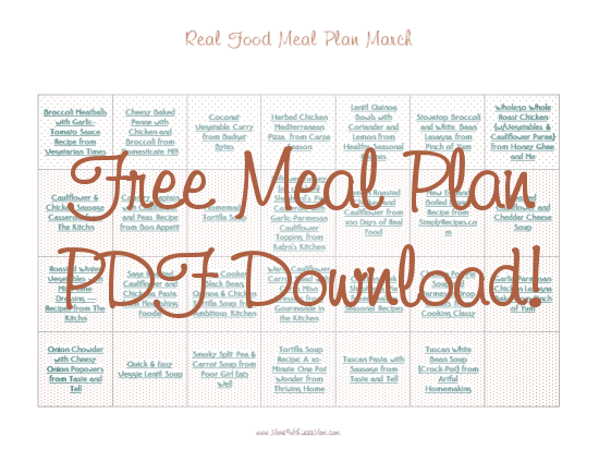 Download Free Printable PDF March Real Food Monthly Meal Plan from The More With Less Mom