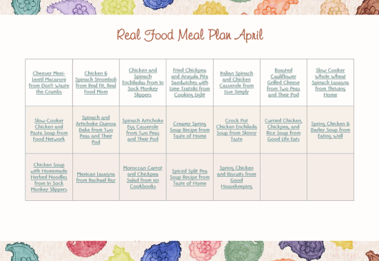 Download Free Printable PDF April Real Food Monthly Meal Plan from The More With Less Mom