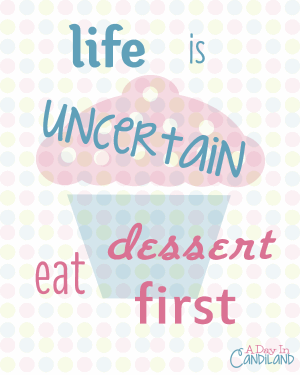 Free printable - Eat Dessert First 80s flair kitchen printable from The More With Less Mom