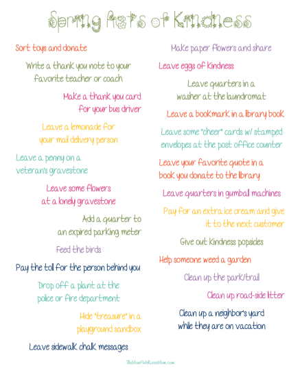Printable Spring Acts of Kindness