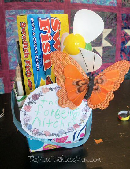 Teacher gift with magnet, Swedish Fish, fan, butterfly clip