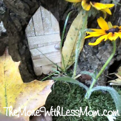 Popsicle stick fairy house door we made, photo property of Melissa French