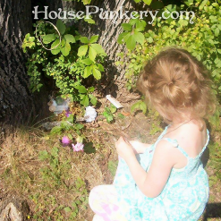 Kid #3 with a fairy house kit from my shop HousePunkery, photo property of Melissa French