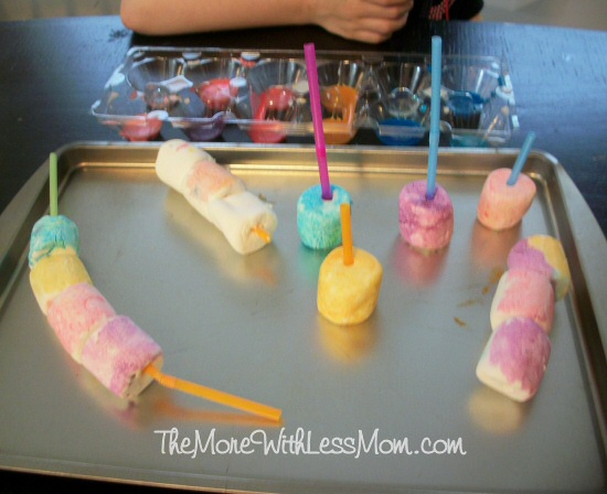 Kindergartener marshmallow masterpieces