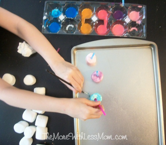 Marshmallow painting set up