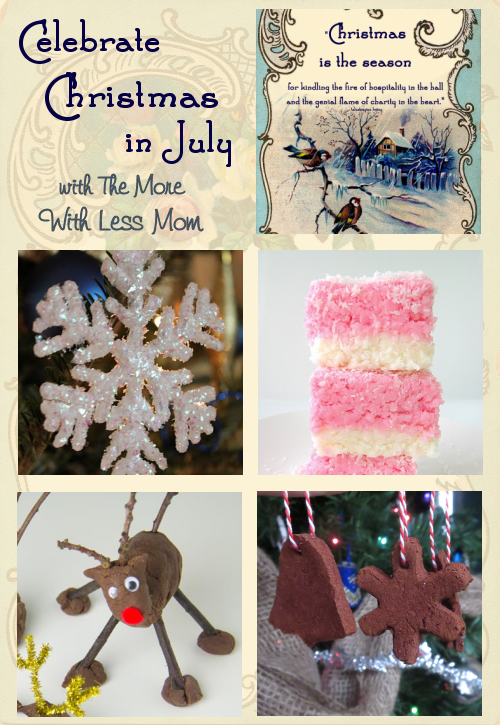 Deck your halls for Christmas in July with The More With Less Mom. Have some festive fun this summer, with ornaments, activities, decorations, and treats.