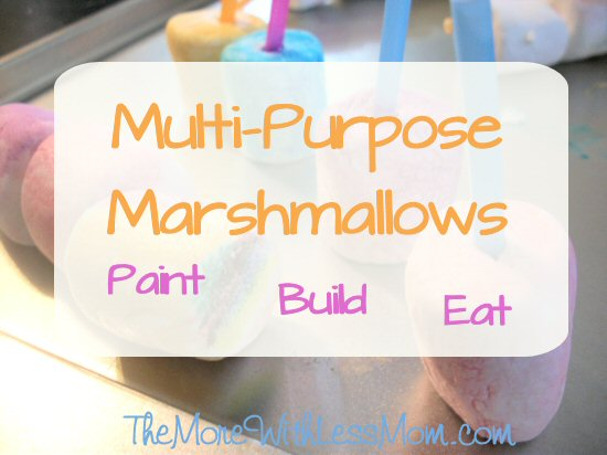 Multi-Purpose Marshmallows: Paint, Build, Eat from The More With Less Mom. Here is an edible, quick-prep, low-cost activity you can whip up on a rainy day