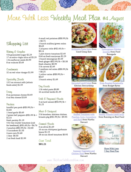 More With Less 7 Day Meal Plan shopping list PDF download