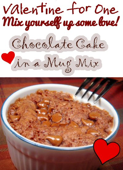 Valentine For One - Chocolate Mug Cake Mix Recipe from The More With Less Mom