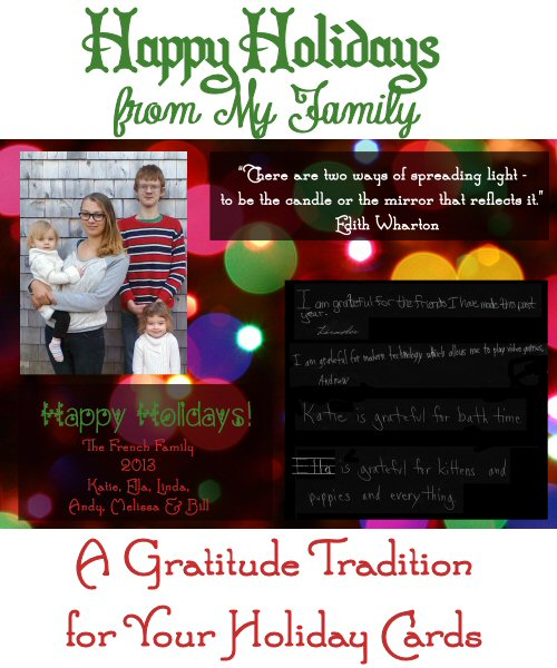 Happy Holidays from My Family - A Gratitude Tradition for Your Holiday Cards