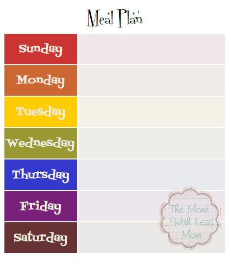 Weekly Meal Plan Template Free 8x10 Printable PDF from The More With Less Mom