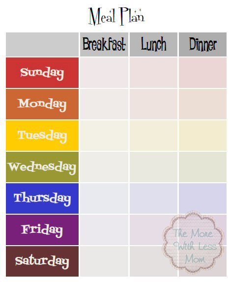 weekly meal plan template with breakfast lunch dinner free 8x10 printable pdf from the more