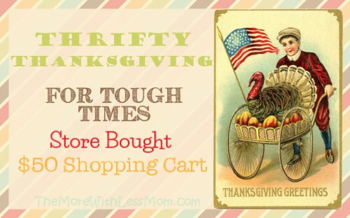 Thrifty Thanksgiving for Tough Times - Store Bought $50 Shopping Cart from The More With Less Mom