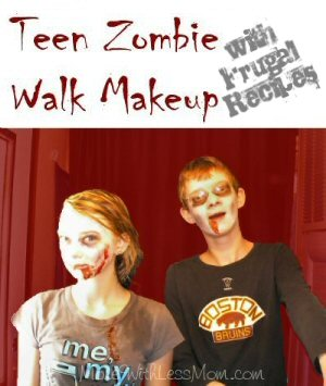Teen Zombie Walk Makeup from The More With Less Mom